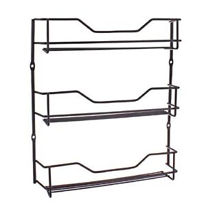 ENTREE-BLACK-3-TIER-SPICE-RACK-Herb-Spices-Holder-Cupboard-Door-Wall-Mounted