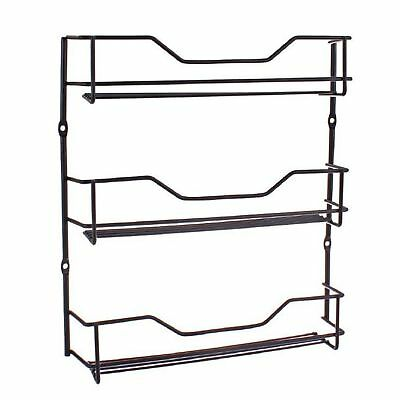 ENTREE BLACK 3 TIER SPICE RACK Herb Spices Holder Cupboard Door Wall Mounted