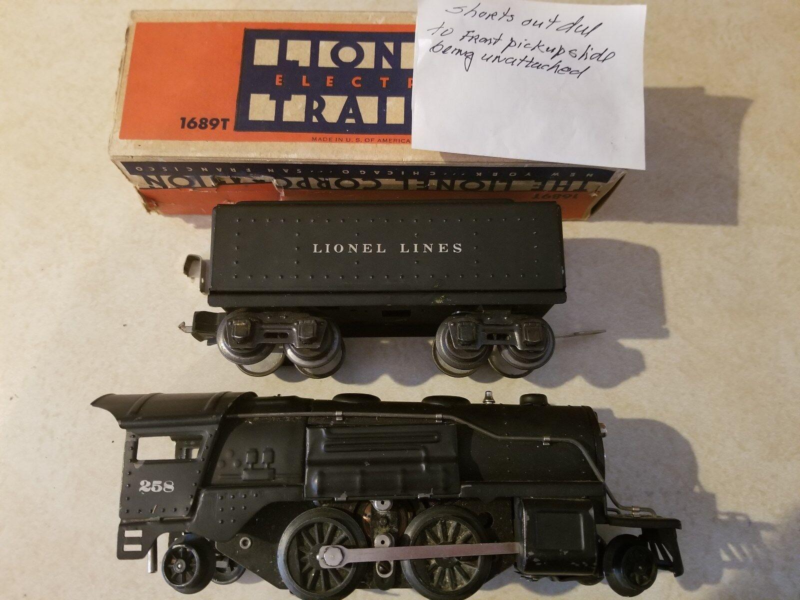 Lionel 258 2-4-2 Locomotive, late 'O' w 1689T Tender Prewar 30-35 (JS)