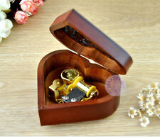 """""""Can't Help Falling in Love"""" Wooden Heart Shape Music Box With Sankyo Movement"""