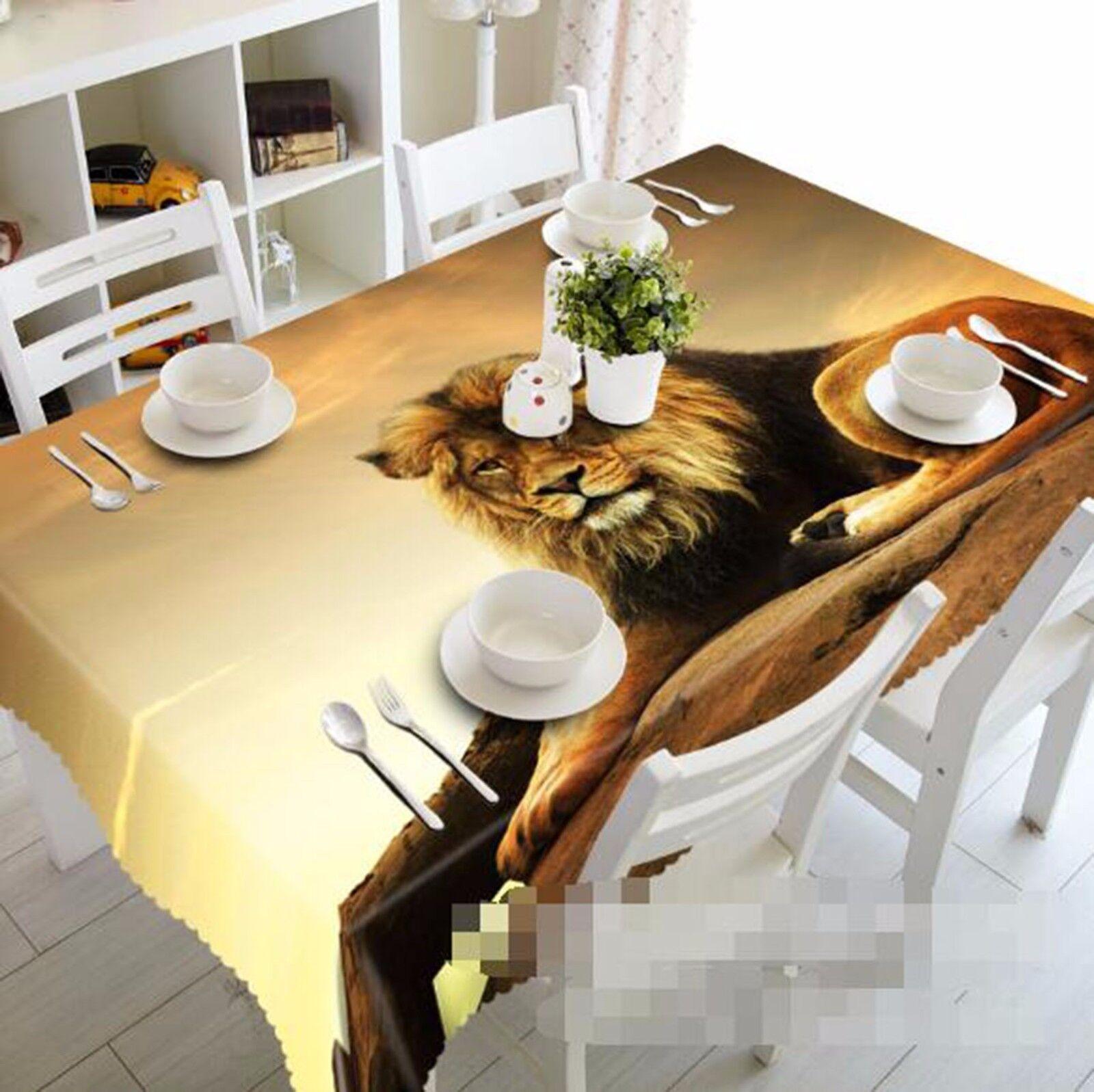 3D Lion 64 Nappe Table Cover Cloth fête d'anniversaire AJ papier peint Royaume-Uni Citron