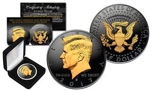 2017 Black RUTHENIUM JFK Half Dollar U.S Coin 2 SIDED 24K Gold D-MINT with BOX