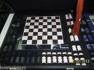 Hand-Made-CHESS-SET-DOLIMITE-with-Case-Piece-of-Art
