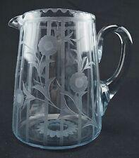 Vintage intaglio Cut Glass pitcher with initial B Q, unique.