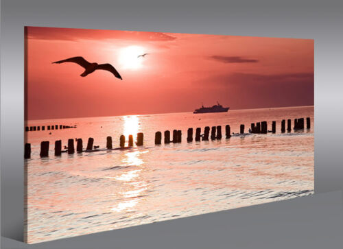 Bild auf Leinwand Red Sea V2 Sonnenuntergang Rot Orange 1K Wandbild