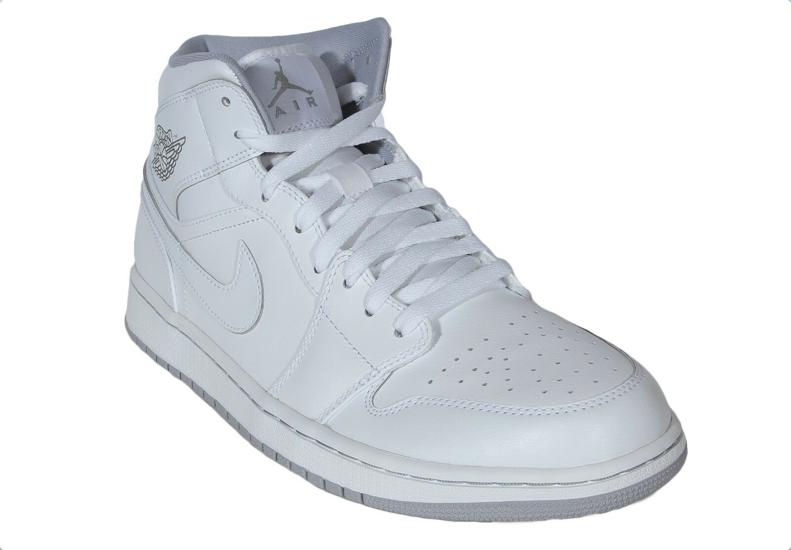 Air Jordan 1 Mid Men's Basketball Leather Shoes White Wolf Grey 554724-112