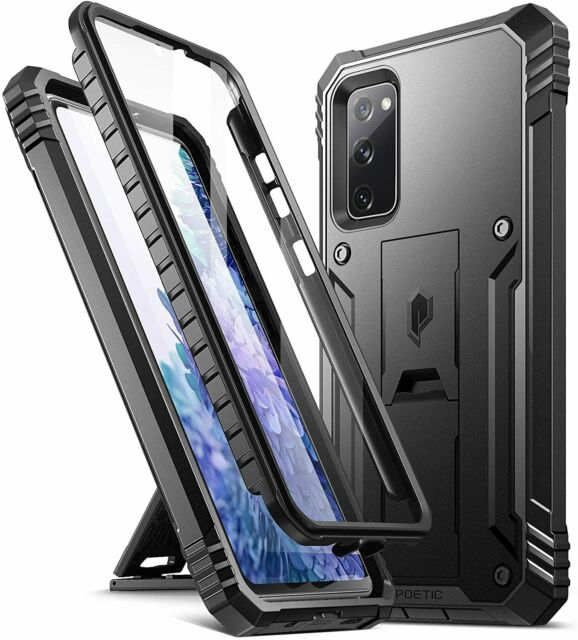 Galaxy S20 FE 5G Shockproof kickstand Case,Dual Layer Protective Cover Black