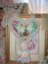 OOAK Altered Art Marie Antoinette Hanging Heart Door Hanger Pillow Vintage Doily