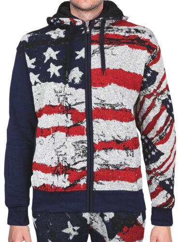 Lavish Society Men/'s American US Flag Tracksuit Zip Up Hoodie Jacket Pants Set