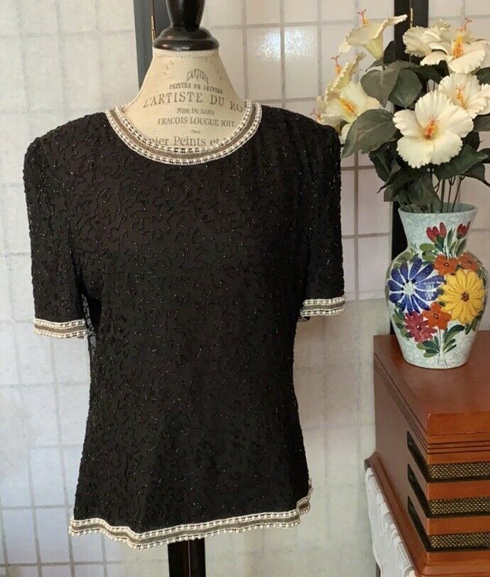 """Sténay Wom XL 100% Silk Beaded & Pearled SS Top Blouse 43"""" Bust, Poly Lining"""