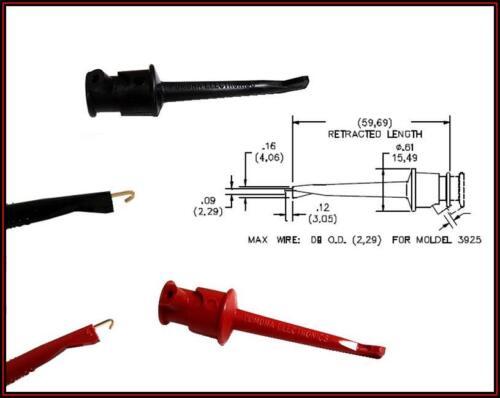 IC Prüfklemmen TEST CLIP Klemmprüfspitze Prüfspitze  Schwarz// Rot 1Paar