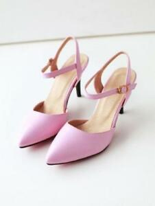 Womens-Slingback-Ankle-Strap-Sexy-Pumps-High-Heel-Stiletto-Pointed-Toe-Shoes