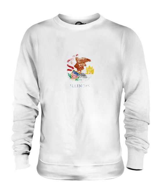 ILLINOIS STATE DISTRESSED FLAG UNISEX SWEATER TOP ILLINOISAN SHIRT JERSEY GIFT