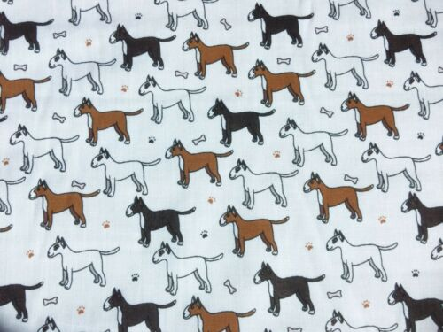 New Remnants Off Cut Fabric Polycotton DOG PET ANIMAL WHITE BULL TERRIER