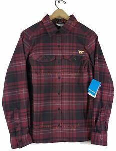 Columbia-Collegiate-Virginia-Tech-Hokies-Silver-Ridge-Flannel-Womans-M-Shirt-NWT