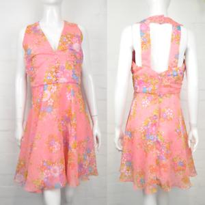 Vintage 60's Rosa Pastel Estampado Floral Vestido Mini 12 Espalda Mod Caramelo