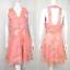 縮圖 1 - Vintage 60's Rosa Pastel Estampado Floral Vestido Mini 12 Espalda Mod Caramelo