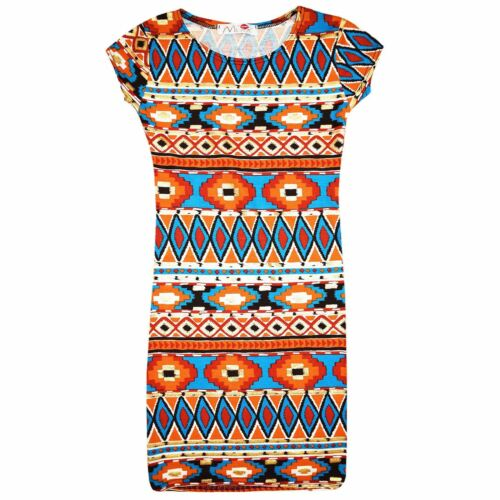 Girls Aztec Tribal Foil Print Skater Midi Dress Crop Top Legging Jumpsuit 7-13 Y