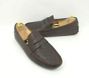 36ef9e8fed8 Gucci  Damo  Diamante Driving Shoe Brown Leather Size 7.5 UK 8.5 US ...
