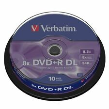 VERBATIM DVD+R DL 240MINS 8.5GB 8X SPEED RECORDABLE BLANK DISC - 10 PACK SPINDLE