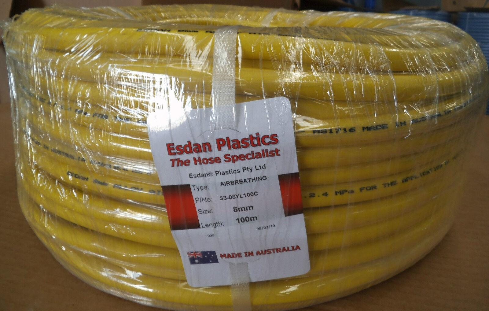 Divers Diving Air breathing Hookah hose 8mm x 100m coil Gelb Australian Esdan
