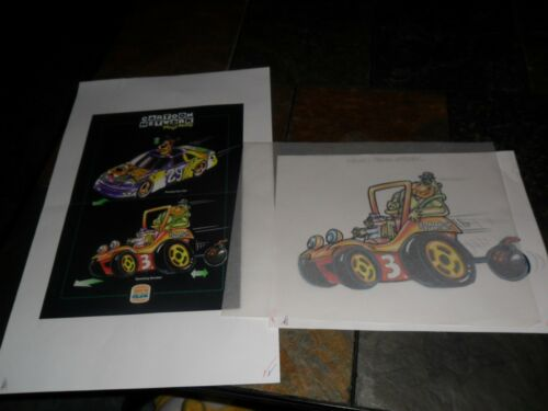3 LOT PROOF POSTER NASCAR CARTOON NETWORK SCOOBY DOO MAGILLA GORILLA TOP CAT TOY