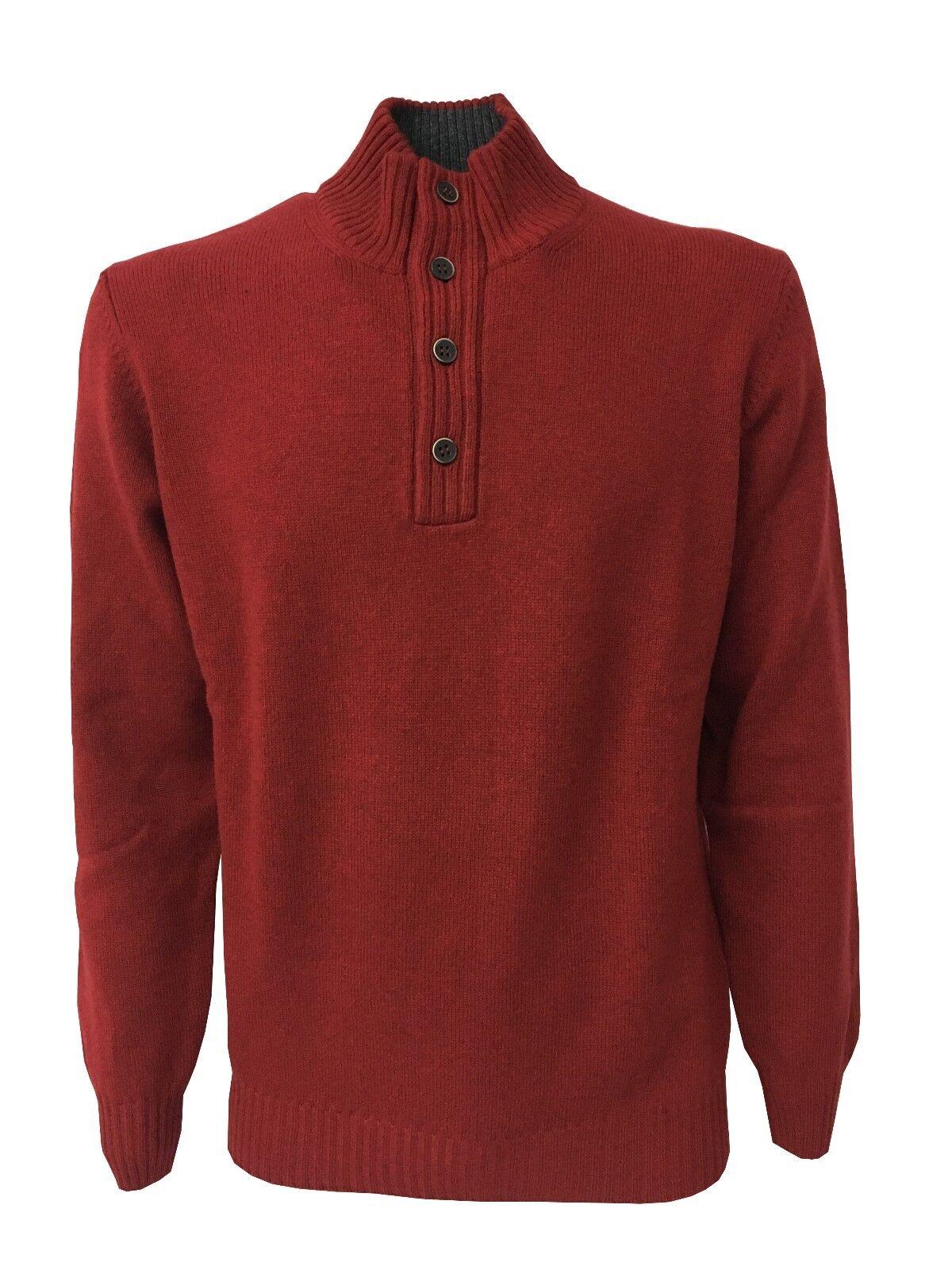 DELLA CIANA maglia lana cashmere uomo rosso scuro interno collo grigio MADE ITA