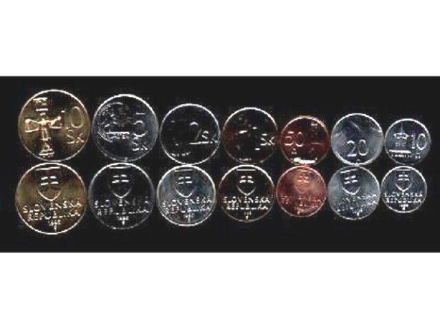 SLOVAKIA 10 20 50 1 2 5 10 KORUNA 1993-2005 EURO UNC COIN COMPLETE CURRENCY SET