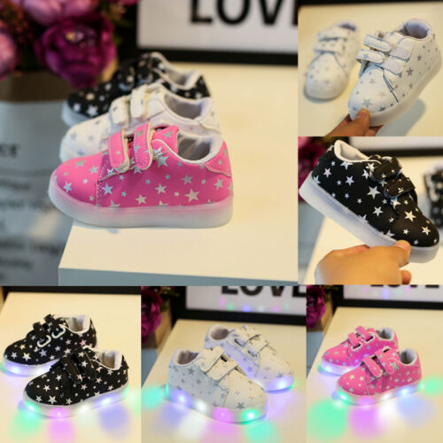Kids Toddler Lighted Sneakers Leather LED Baby Boy Girl Crib Shoes Trainers T