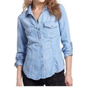 CLOTH   STONE Anthropologie Light Chambray Button Up Tab Long Sleeve ... 6debe924a