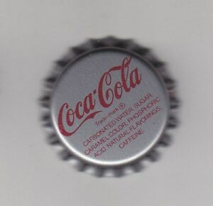 1-PIECE-COCA-COLA-BOTTLE-METAL-CAP-SILVER-USED-NEVER-CRIMPED-Pepsi-7UP-Crafts