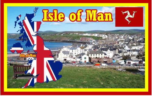 Sehenswürdigkeiten /& Flagge Isle Of Man Souvenir Neuheit Kühlschrank Magnet