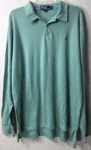 Polo-Ralph-Lauren-Men-039-s-Long-Sleeve-Polo-Shirt-Solid-Green-Size-XL