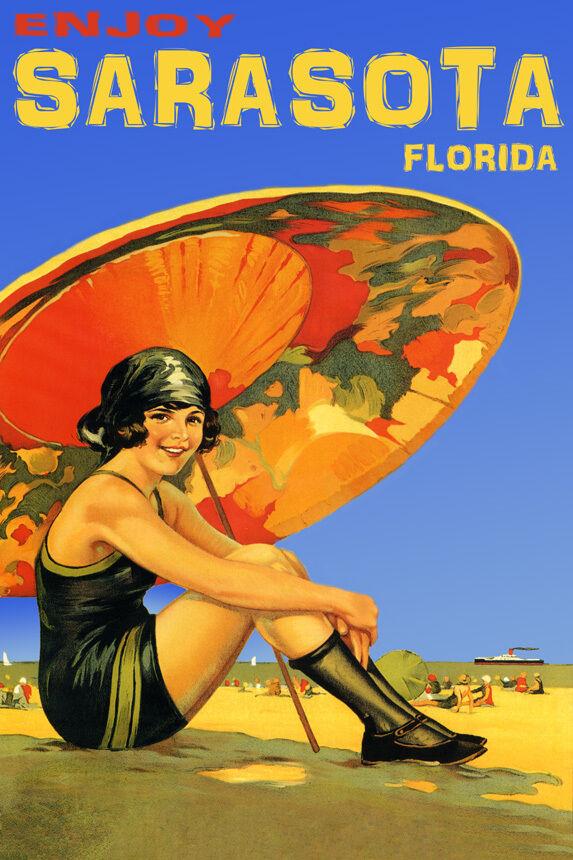 ENJOY SARASOTA SUNSHINE FLORIDA GIRL BEACH TRAVEL TOURISM VINTAGE POSTER REPRO