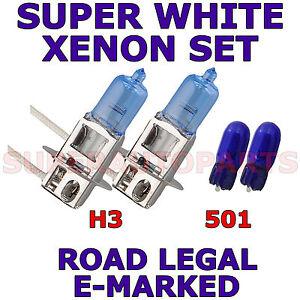 FITS   SEAT LEON 2005-2006   SET  H3  501   SUPER WHITE XENON LIGHT BULBS