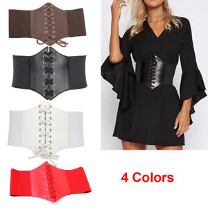 5e7cfe4d436 Ladies Waist Cincher Wide Band Elastic Tied Waspie Corset Leather ...