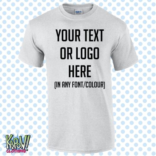 Custom Personalised Men/'s Printed T-SHIRT Name Funny Work Stag Your text//logo 1