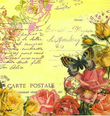"""4x Single Table Paper Napkins for Party, Decoupage, Craft """"Vintage Butterflies"""