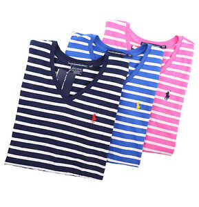 06e48ab89 Ralph Lauren Sport Women V-Neck Stripe Tee T-Shirt Top Pony - Free ...