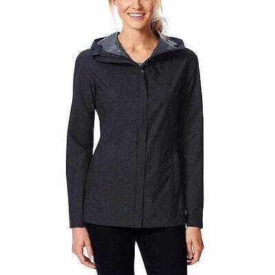 NWT 32 Degrees Women's Rain Jacket Coat MED Black Waterproof TLS72017CO UPF 30+