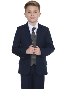 Boys-Suits-Boys-Check-costumes-Page-Garcon-Mariage-Prom-Party-Costume-Garcons-Bleu-Marine-Costume-TB