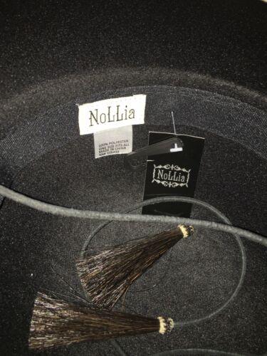 scamosciata cappello pelle di a pelo tesa cavallo nuove in nappe Feltro nero stringhe larga a gHqF0
