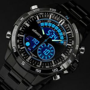 INFANTRY-Mens-LED-Digital-Quartz-Wrist-Watch-Chronograph-Black-Stainless-Steel