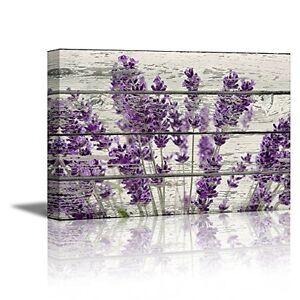 Image Is Loading Framed Purple Lavender Flowers Canvas Wall Art Vintage