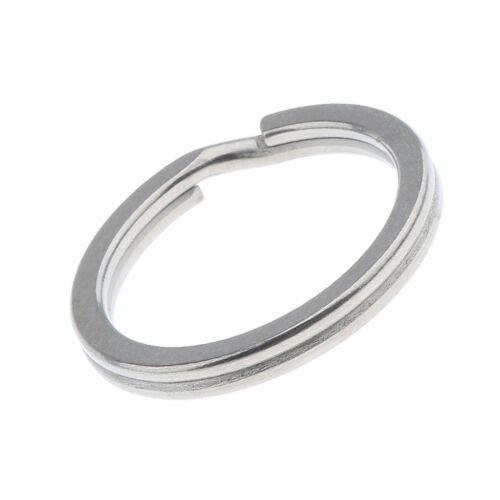 2pcs Titanium Split Key Ring Metal Loop Flat Key Chain Holder Hoop 14-32mm