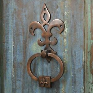 Antique Copper Fleur De Lys Door Knocker - Supplied With Fixings