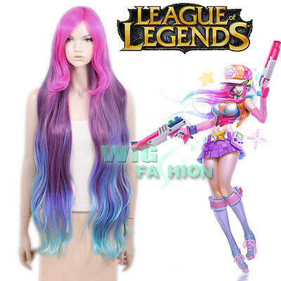 League of Legends Miss Fortune Long Wavy Pink Purple Blue Anime Cosplay Wig