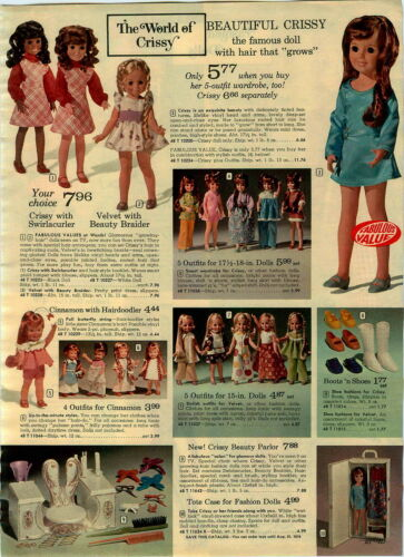1973 PAPER AD Doll Crissy Swirlacurler Velvet Beauty Braider Ms Fashion Jennifer