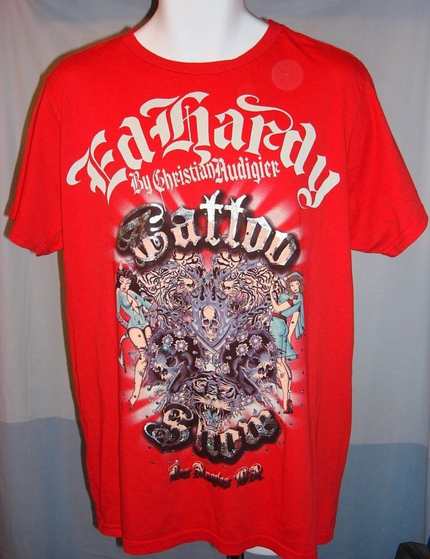 Ed Hardy NWT Retro Tattoo Show Short Sleeve Red Tee Shirt Size XL Free Shipping