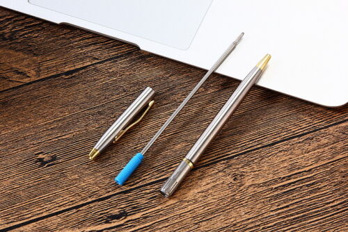 Stainless Steel Rod Rotating Metal Ballpoint Pen Stationery Ballpen Portable Oil